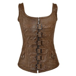 LEATHER 6 BUCKLE ZIP FRONT CORSET WITH SHOULDER STRAPS