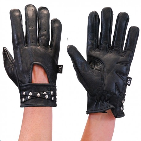 Womens Leather Gloves w Studded Wrist Strap