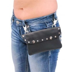 Studded Black Leather Jumbo Clip-On Hip Klip Bag