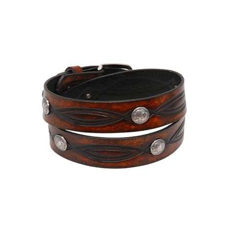 Heavy Buffalo Nickel Vintage Brown Leather Belt