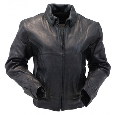 Womens Heavy Vented Bomber Motorcycle Jacket