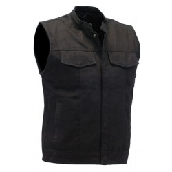 Black Denim Snap Up Club Vest