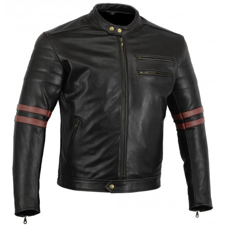 Bikers Gear The Rocker Motorcycle Black Leather Cafe Racer Jacket CE1621-1 PU Armour,