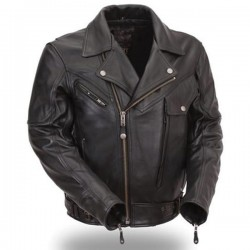 Men Premium Black Leather Motorcycle Jacket with Multiple Vents