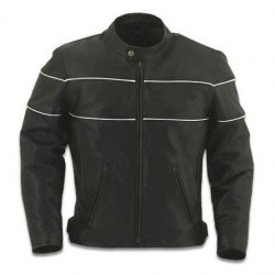 Men Black Leather Motorcycle Jacket with Multiple Vents & Single Reflective Piping