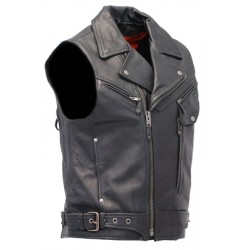 Premium Vented Sleeveless Leather Motorcycle Jacket Vest