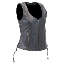 Black Women's  CCW Pocket Side Lace Leather Zip Vest