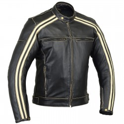 SAINT ROCK Gear Armor Cowhide Leather Jacket - Ivory Stripe