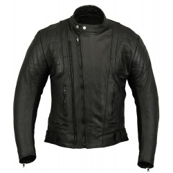 Ultimate Cowhide Leather Vented Scooter Jacket w Quilt Panels