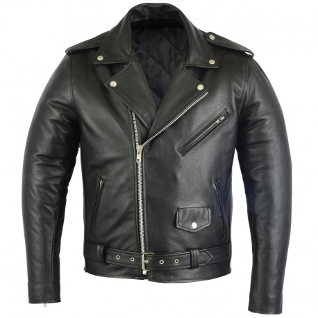 LEATHER MENS BRANDO STYLE JACKET ARMOURED a