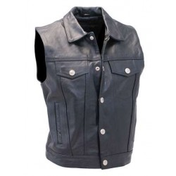 Jean Style Leather Club Vest w Collar
