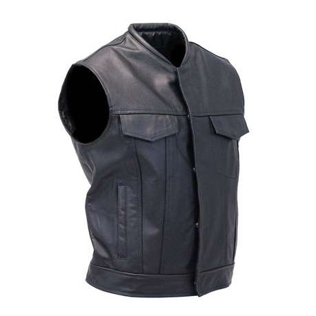 Black Leather Club Vest