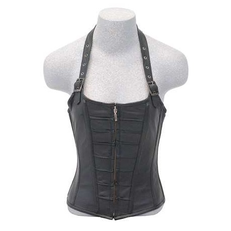 Zip Front Halter Style Leather Corset