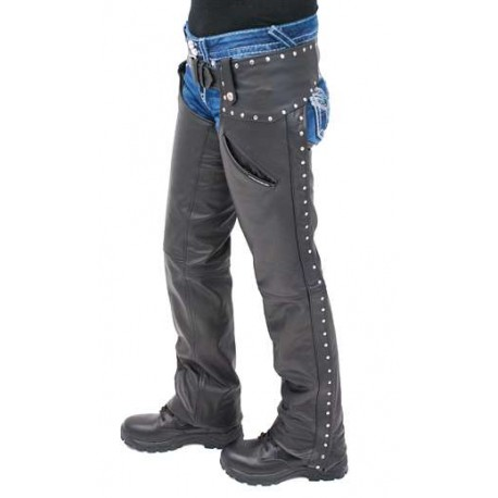 Womens Low Rise Premium Leather Studded Pocket Chaps