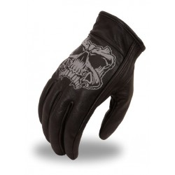 Men's short glove with reflective skull and gel palm.