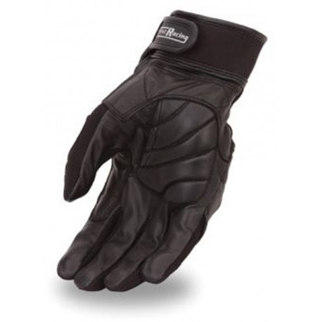 Textile and leather racing gloves featuring Kevlar knuckles,