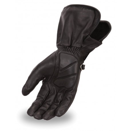 Men's gauntlet gloves made in Aniline cowhide featuring light lining, adjustable Velcro strap and gel padding on palm.