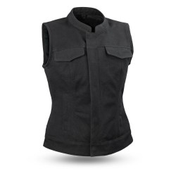 Lara custom leather vest canvas
