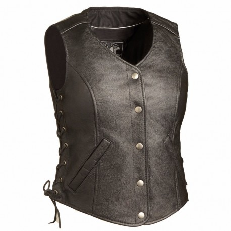Fashionable  leather vest -stud and corset back detailing