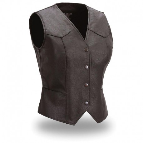 Women's fitted snap front vest