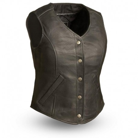 Classic womens five snap fitted MC vest